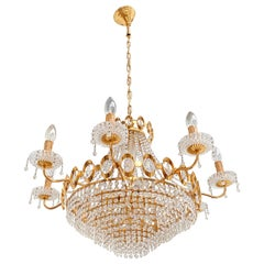 Very Large Luxurious Palwa Crystal Gilt Brass Classic Chandelier Germany 1960's