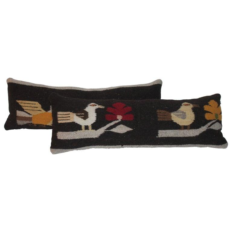Mexican / Indian Bird Weaving Pillows, 2 For Sale