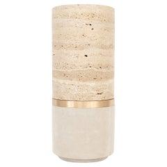 Michaël Verheyden Dure Vase Travertine Marble Bronze Suede