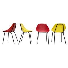 4 Pierre Guariche Cute 'Coquillage' Indoor Outdoor Chairs, Meurop Belgium 1960's