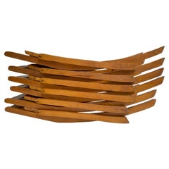 6 Beech Wood & Plywood Mid-Century Modern Folding Chairs, 1950's