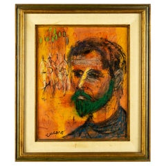 Mid Century Pascal Cucaro Signed Oil on Canvas Framed Portrait