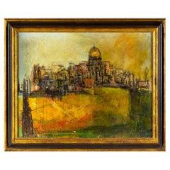 Mid Century Modern Cityscape Oil Painting On Canvas