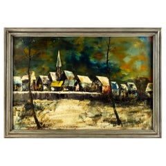 Mid Century Jacallo 'Architectural Landscape' Signed Oil on Canvas Painting