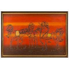 Mid Century Wisnom Horses Framed Art
