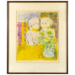 Eleanor Coen 'Children At The Table' Signed 1966 Wall Art