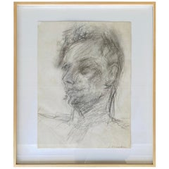 Framed Abstract Portrait of a Man Pencil Drawing