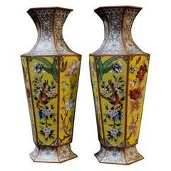 Matching Pair of Chinese Bronze Cloisonné Enameled Vases, 19th Century