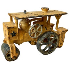Antique Huber Cast Iron Toy Truck Hubley Steam Driven Engine Road Roller 1930s