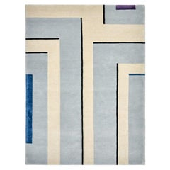 Corner II - Hand Knotted Neutral Wool Rug with Lines by for Carpets CC