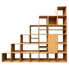 Derk Jan de Vries Modular Wooden Wall Unit, 1980s
