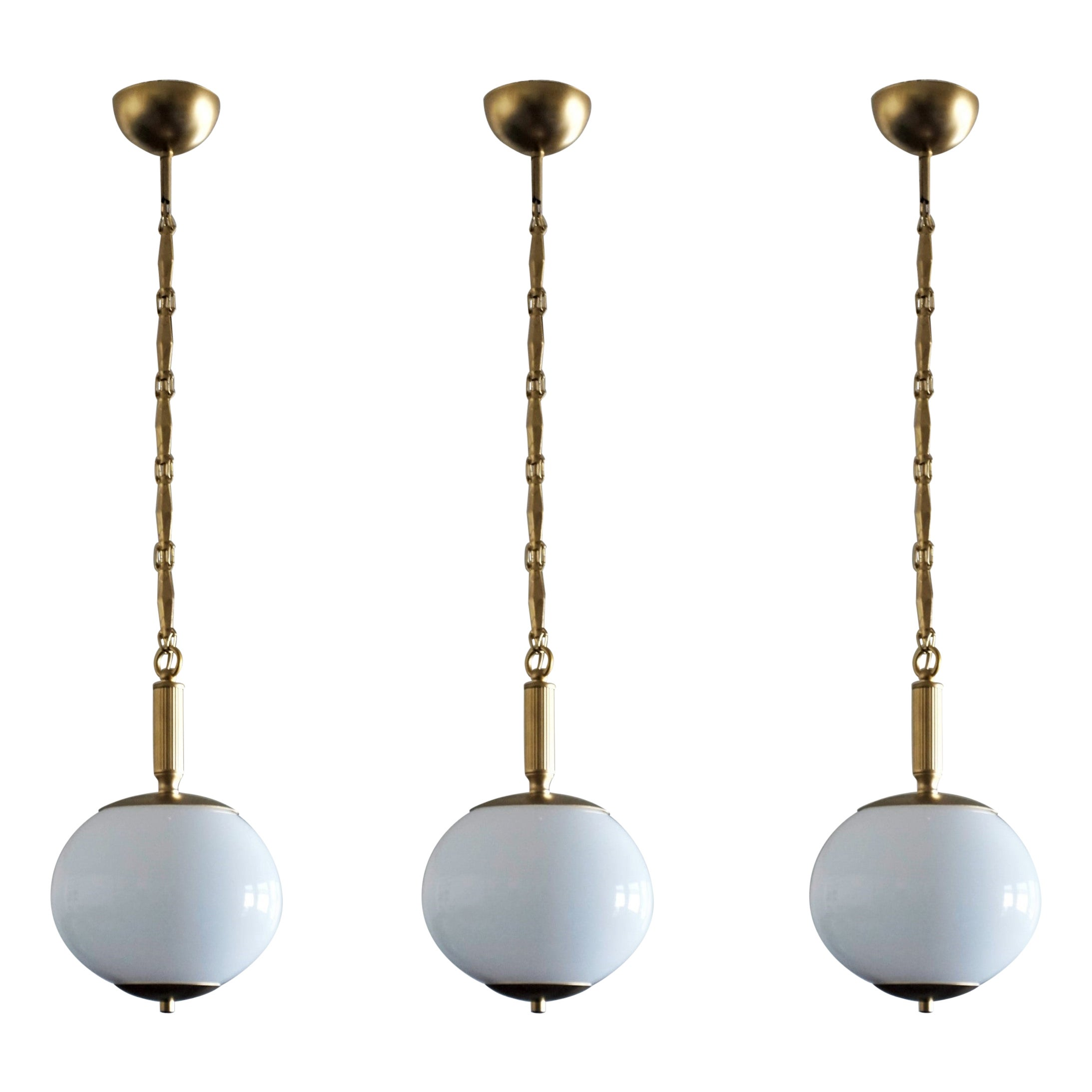 Set of Three Italian Art Deco Opaline Glass and Brass Pendants, 1950's