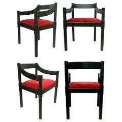 "Lot of Four Chairs ""Carimate"" Design Vico Magistretti for Artemide, 1960s"
