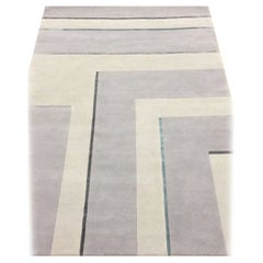 Corner III - Hand Knotted Neutral Wool Rug with Lines by for Carpets CC