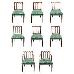 Set of 8 Georgian Mahogany Gothic Dining Chairs