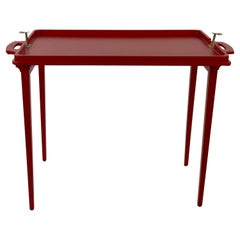 Folding Wooden Tray Table from Austria, 1930's, in Burnt Orange Colour
