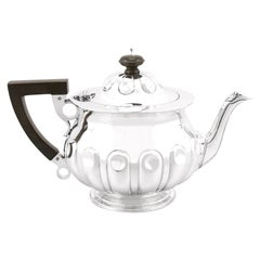 Antique Edwardian Arts & Crafts Style Sterling Silver Teapot by Reid & Sons