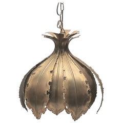Danish Brutalist Palm Leaf Pendant by Svend Aage Holm Sorensen