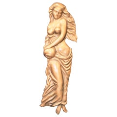 Large Vintage Molded Semi-Nude Neoclassical Styled Female Relief Wall Sculpture