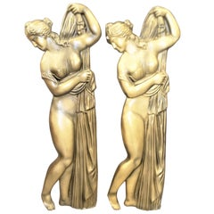 Pair Vintage Molded Semi-Nude Neoclassical Styled Females Relief Wall Sculptures