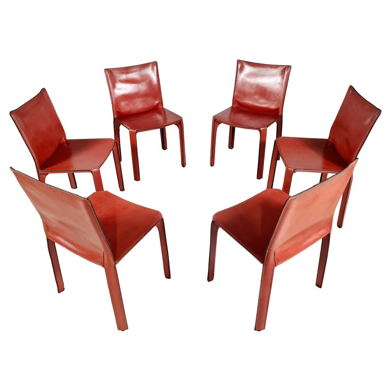 Early Edition Set of 6 CAB 412 Chairs by Mario Bellini for Cassina, 1970 For Sale