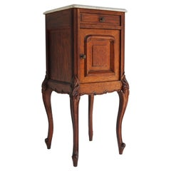 Antique French Louis XV Night Stand / Bedside Table Solid Oak Carrara Marble Top