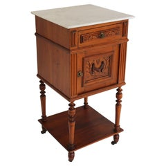 Antique Night Stand / Bedside Table 19th Century Fruitwood & Carrara Marble Top