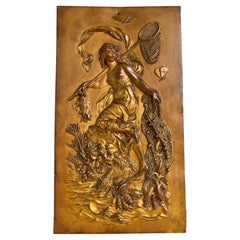 Stunning Antique, Cast & Gilt Copper Plaque Depict, Goddess of Fishing Leucothea