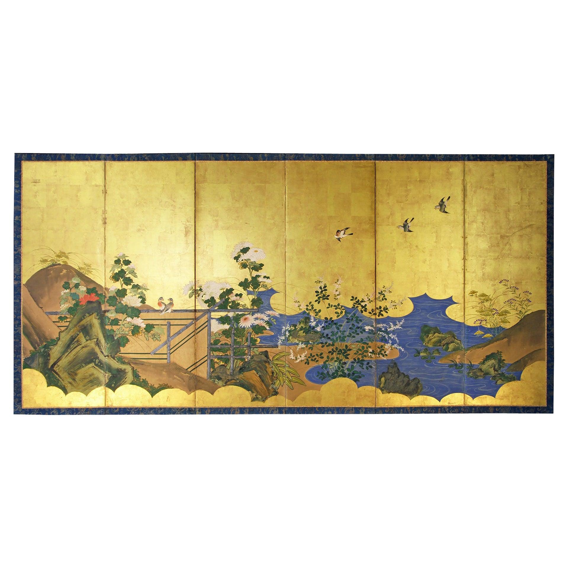 Edo Period, Early 19th Century Japanese Folding Screen by Rinpa School