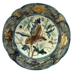 Majolica Bird & Insect Plate Wasmuel, Circa 1890