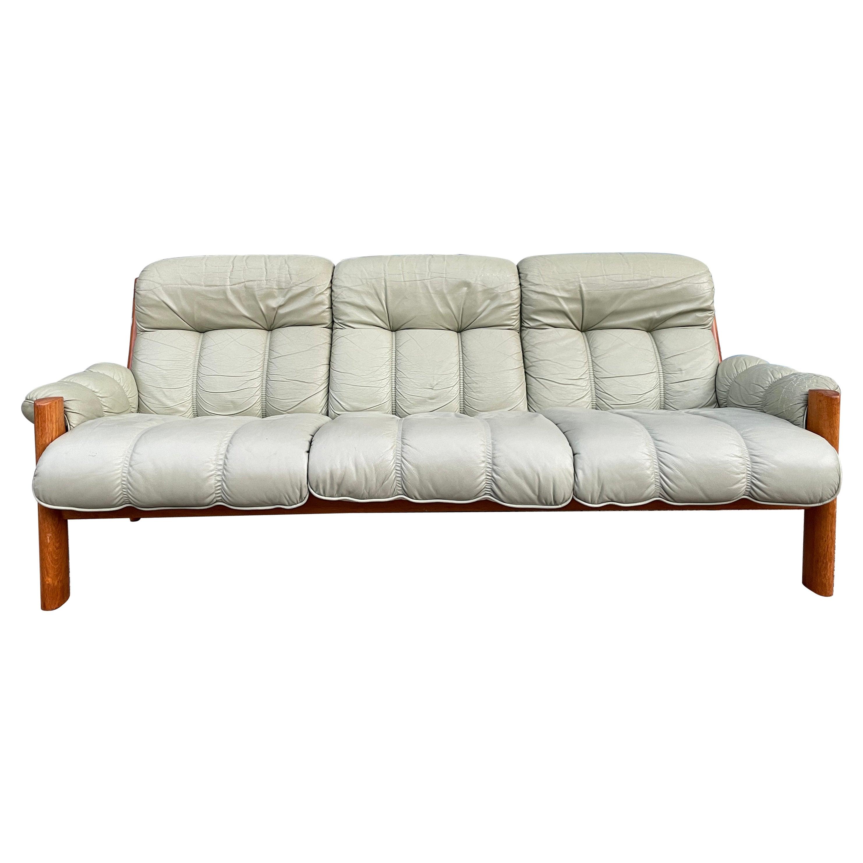 Midcentury Norwegian Modern Ekornes Leather Teak 3 Seater Sofa