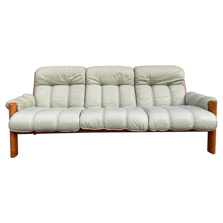 Midcentury Norwegian Modern Ekornes Leather Teak 3 Seater Sofa For Sale