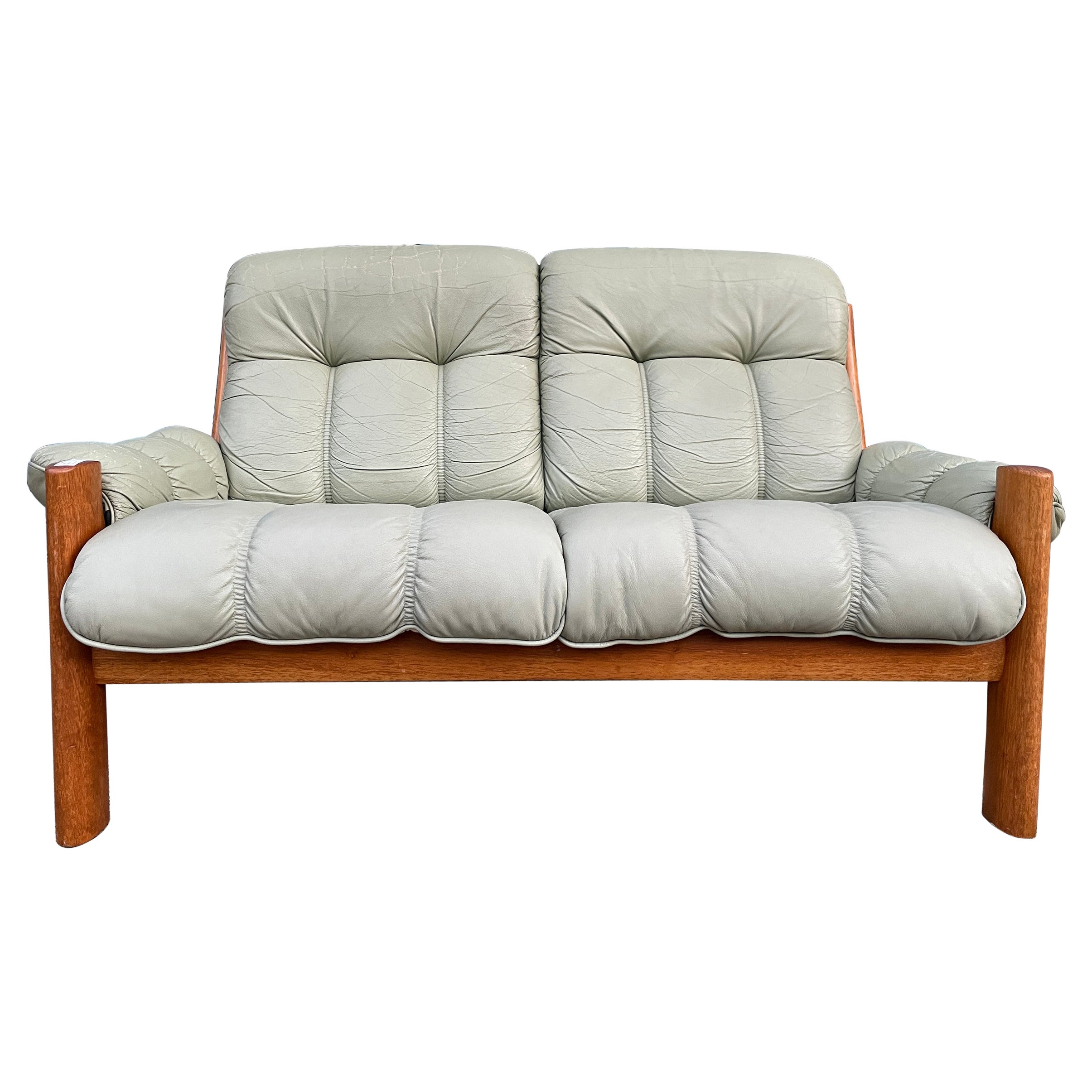 Midcentury Norwegian Modern Ekornes Leather Teak 2 Seater Sofa