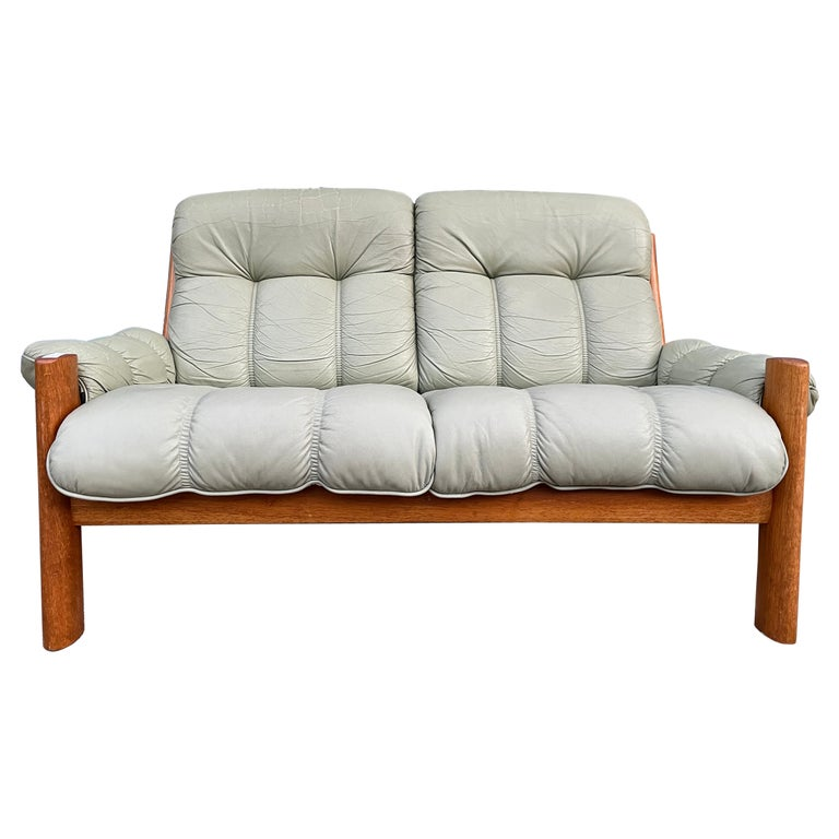 Midcentury Norwegian Modern Ekornes Leather Teak 2 Seater Sofa For Sale