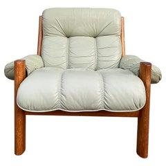 Midcentury Norwegian Modern Ekornes Leather Teak Lounge Chair