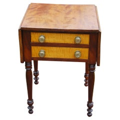 American Sheraton Early 19th Century Dropleaf Two Drawer Side Table