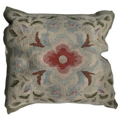 20th C. Floral French Aubusson Tapestry Style Needlepoint Square Pillow Case