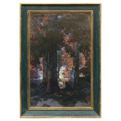 "Antique Maxfield Parrish ""Golden Hours"" Edison Mazda Large Calendar Top, c1920"