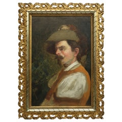 Antique Oil on Board Portrait Painting of a Musketeer Circa 1890