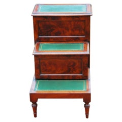 English Regency Period Mahogany Converted Bedstep Commode with Leather Treads