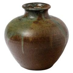 Ceramic Vase with White Glaze Decoration, Signed Lion, circa 1920-1930