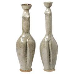 Pair of Ceramic Vases by Annie Maume, to Sancerre, circa 1980-1990