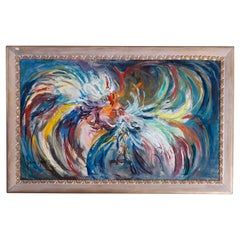 Large Haitian Impressionistic Painting, Fighting Cocks by Has An Djaafar, c1940
