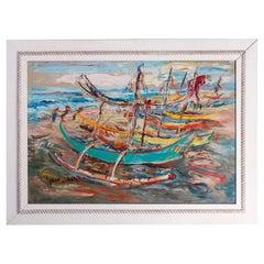 Large Haitian Impressionistic Oil on Canvas Boat Harbor by Has An Djaafar, c1940