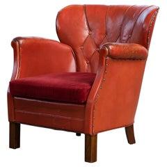 Danish Mid-Century 1930-40s Club Chair in Red Leather by Oskar Hansen