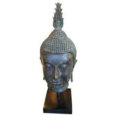 Large Vintage Thai Zinc Buddha Head