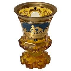 19th Century Gold Gilded Bohemian Amber Glass Enamel Cut Goblet