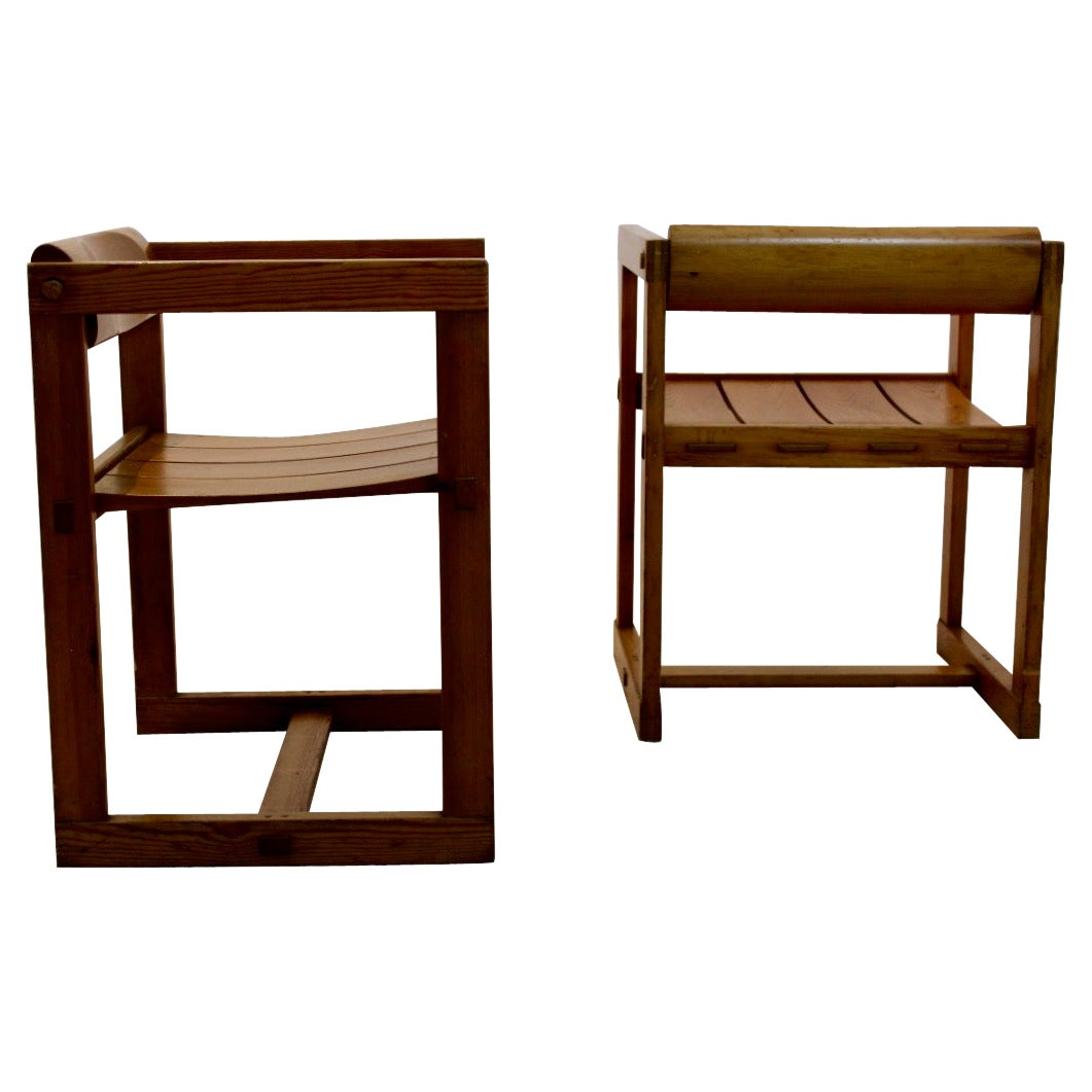 Set of Two Edvin Helseth Pinewood Dining Chairs with Armrests, Trybo Norway