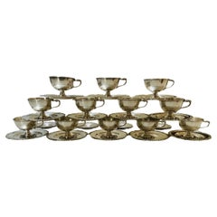 Set of Camusso 925 Sterling Cups, Saucers and Bread/Butter or Appetizer Plates