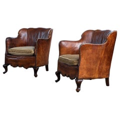 Pair of Classic Danish Club or Library Chairs in Cognac Color Patinated Leather